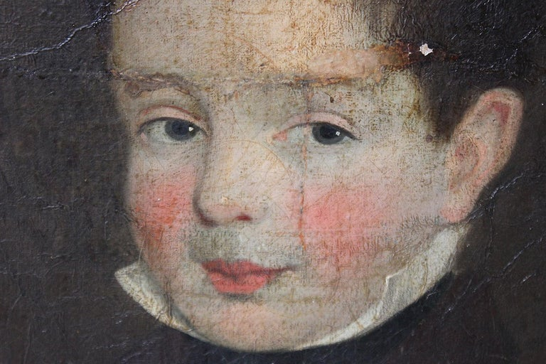 Early 19th Century Irish School Oil on Board of a Young Boy, circa 1810-1825 In Fair Condition In Bedford, Bedfordshire