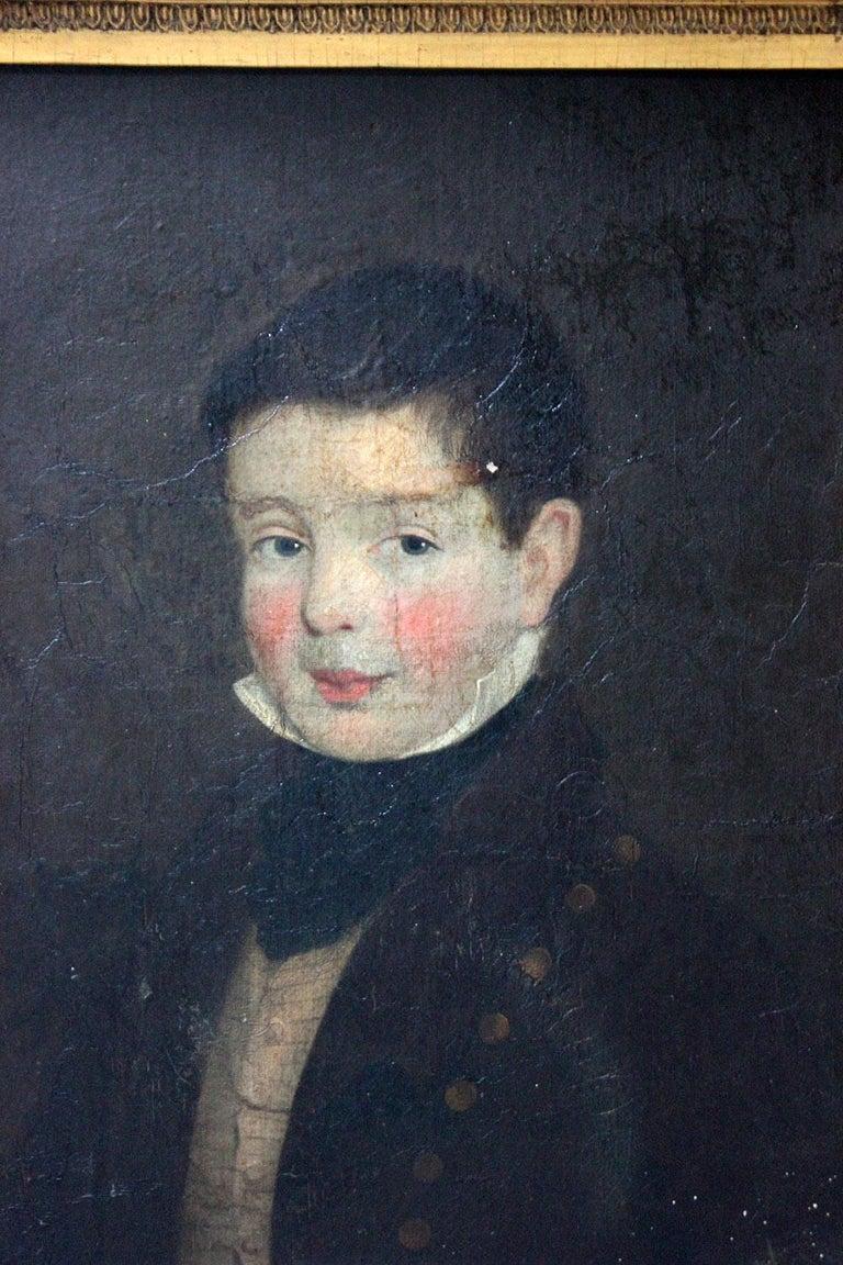 Early 19th Century Irish School Oil on Board of a Young Boy, circa 1810-1825 1