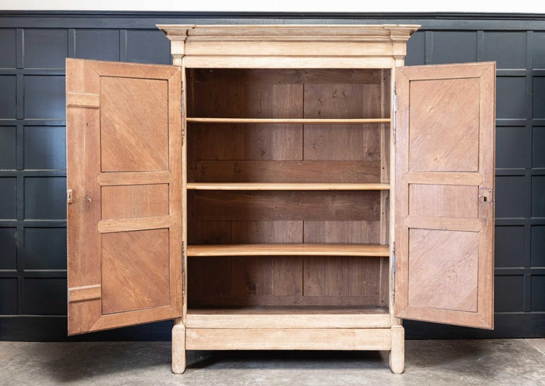 Early 19thC Large Bleached Oak French Armoire In Good Condition For Sale In Harrogate, GB