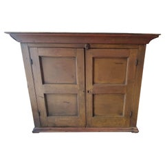 Early 19thc Mustard Table Top or Hanging Cupboard
