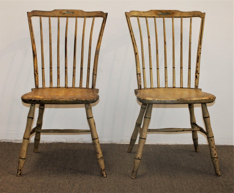 Country Early 19th Century Original Mustard Painted Step Down Windsor Chairs For Sale