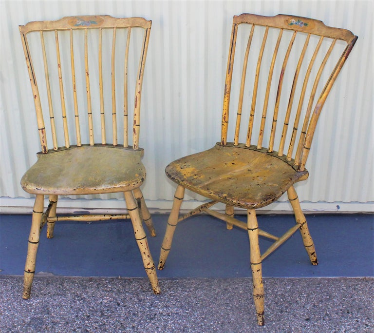 American Early 19th Century Original Mustard Painted Step Down Windsor Chairs For Sale