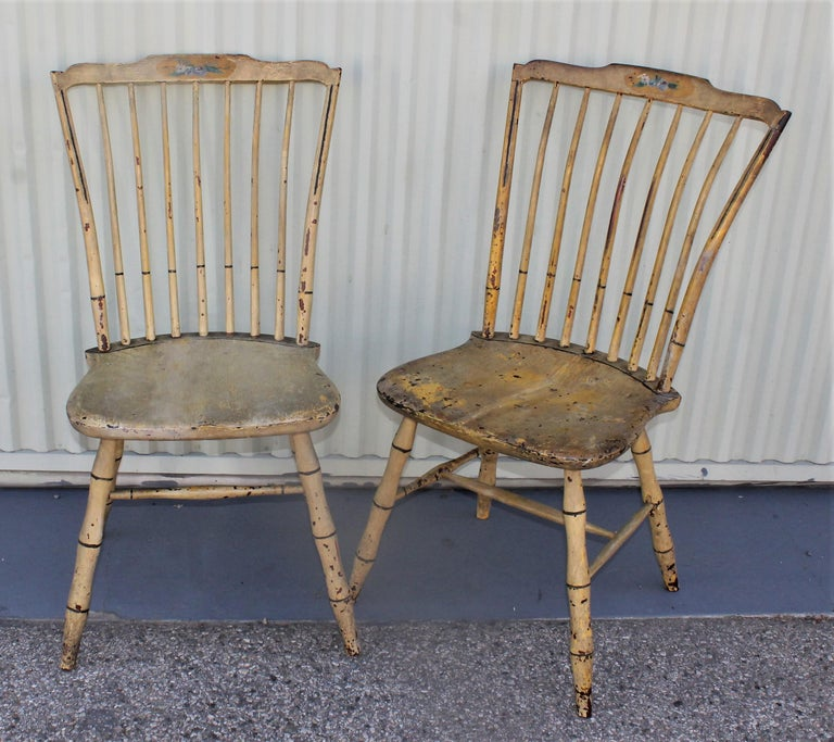 Hand-Crafted Early 19th Century Original Mustard Painted Step Down Windsor Chairs For Sale