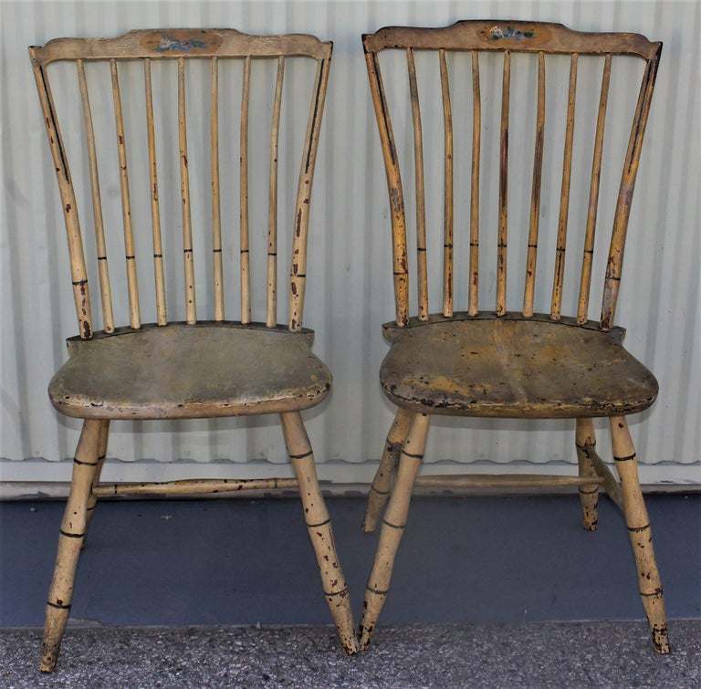 Pine Early 19th Century Original Mustard Painted Step Down Windsor Chairs For Sale