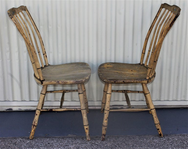 Early 19th Century Original Mustard Painted Step Down Windsor Chairs For Sale 1