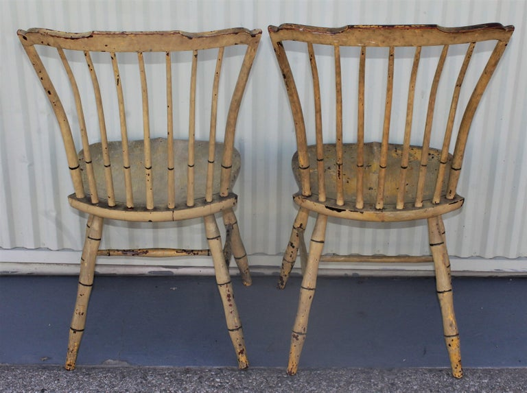 Early 19th Century Original Mustard Painted Step Down Windsor Chairs For Sale 2