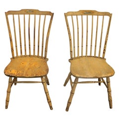 Early 19th Century Original Mustard Painted Step Down Windsor Chairs