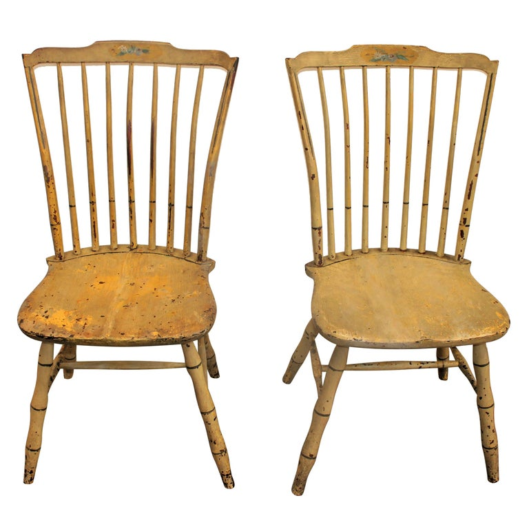 Early 19th Century Original Mustard Painted Step Down Windsor Chairs For Sale