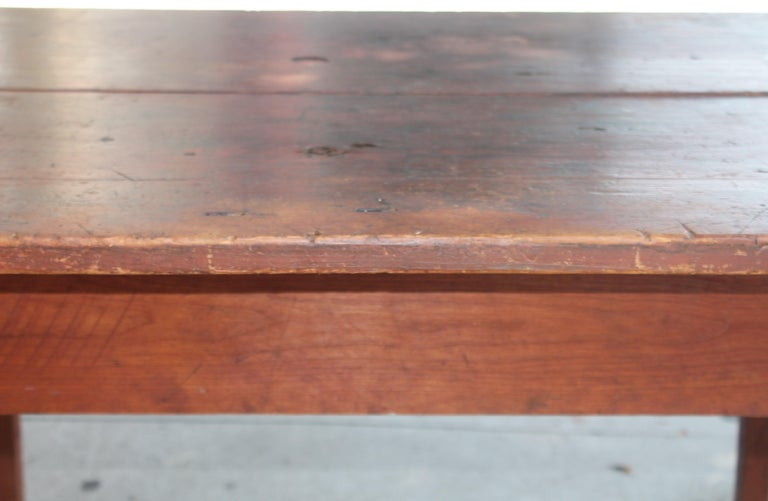 Country Early 19thc Original Red Painted Pennsylvania Farm Table For Sale