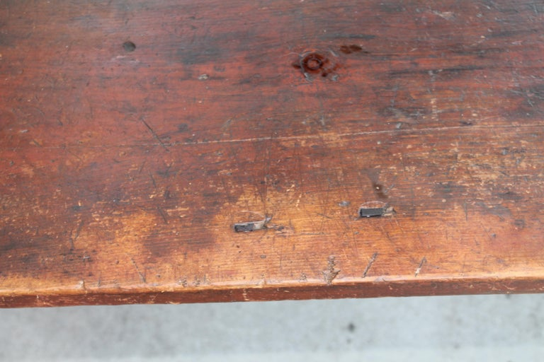 Hand-Crafted Early 19thc Original Red Painted Pennsylvania Farm Table For Sale