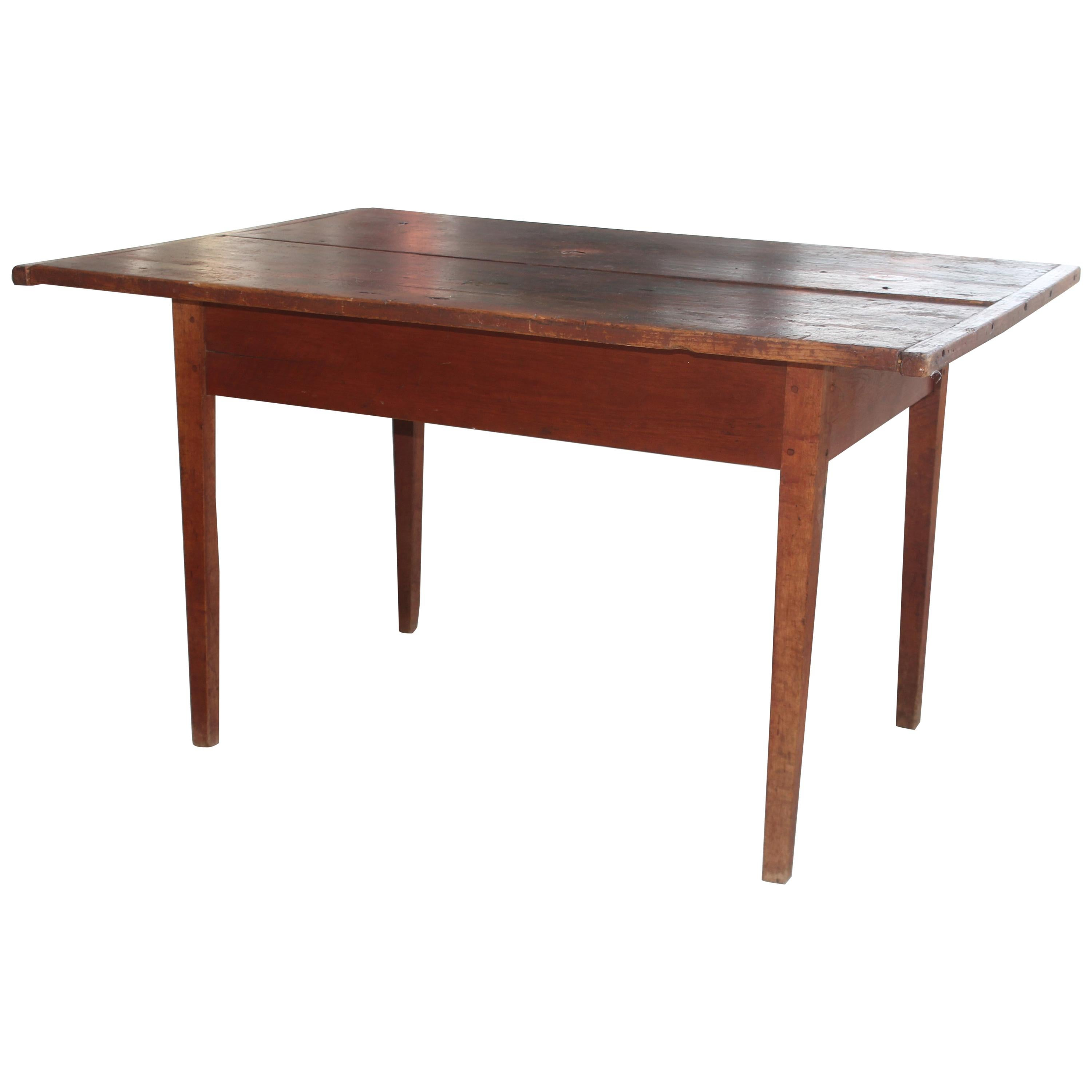 Early 19thc Original Red Painted Pennsylvania Farm Table