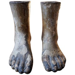Early 19thC Pair of Carved Pine & Painted Gesso Mannequin Feet