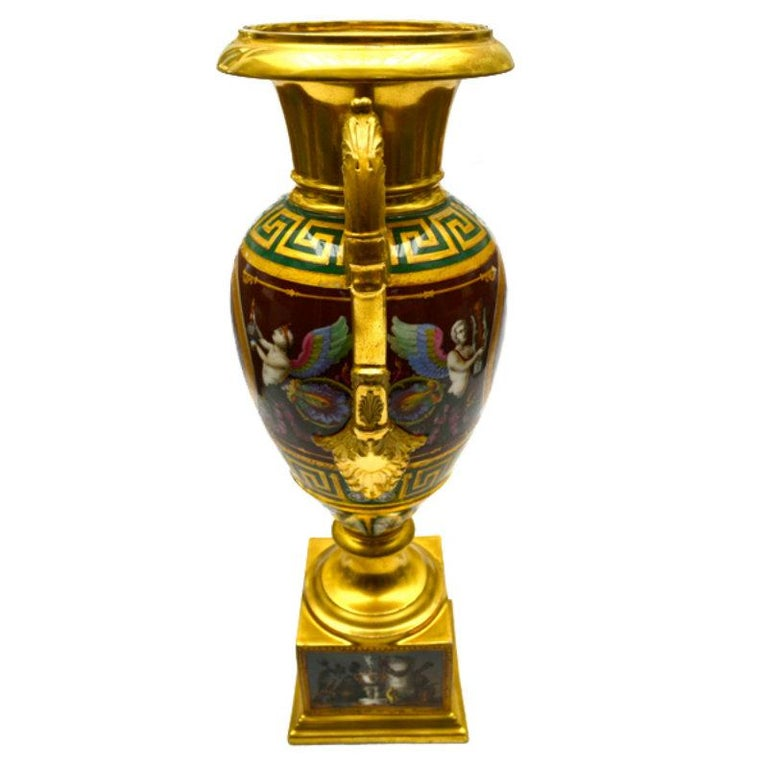 Painted Early 19th Century Paris Porcelain Urn For Sale