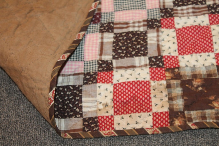 Early 19th Century Quilt, Mini Pieced Nine Patch from Pennsylvania For Sale 3
