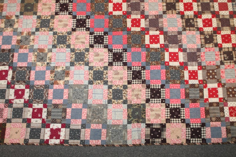 Early 19th Century Quilt, Mini Pieced Nine Patch from Pennsylvania For Sale 5