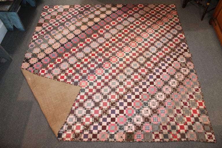 Adirondack Early 19th Century Quilt, Mini Pieced Nine Patch from Pennsylvania For Sale