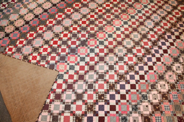 American Early 19th Century Quilt, Mini Pieced Nine Patch from Pennsylvania For Sale