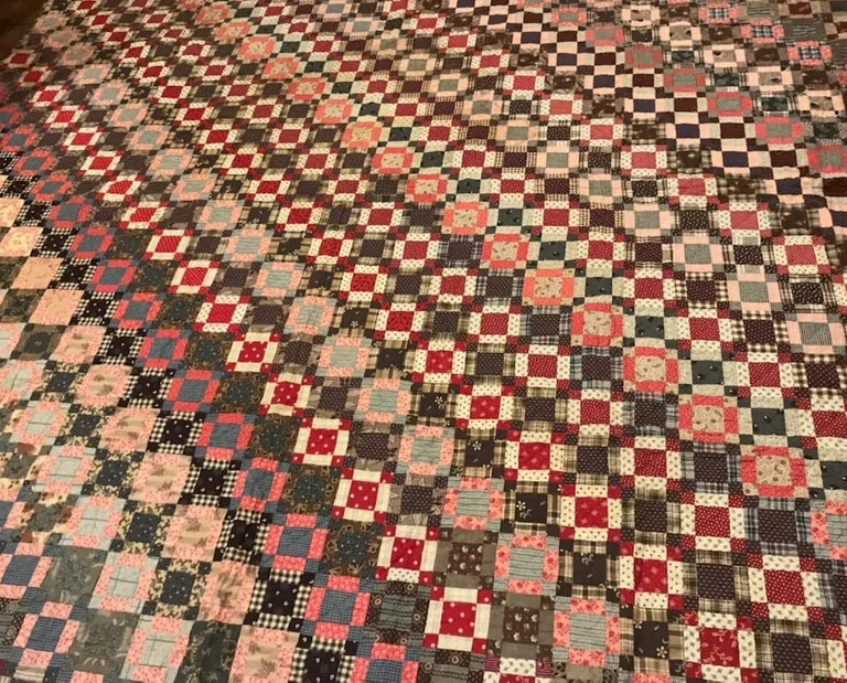 Hand-Crafted Early 19th Century Quilt, Mini Pieced Nine Patch from Pennsylvania For Sale