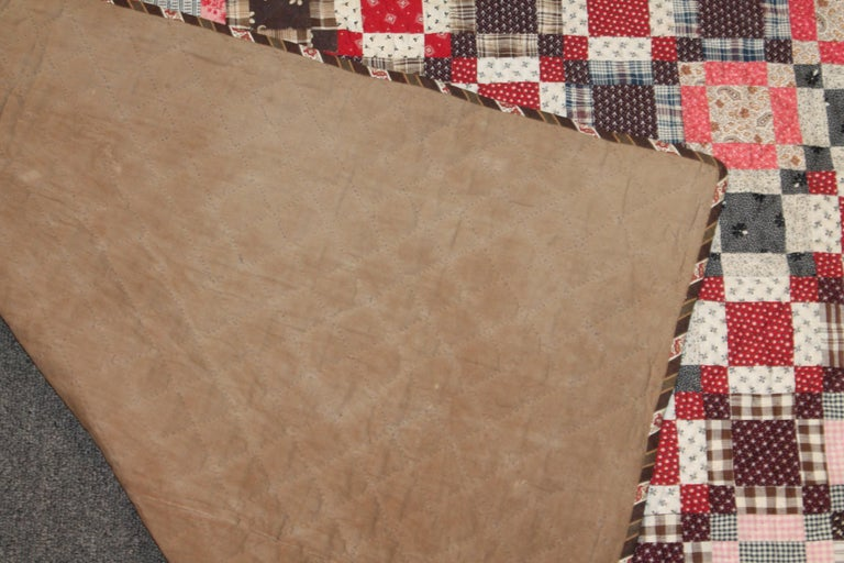 Early 19th Century Quilt, Mini Pieced Nine Patch from Pennsylvania For Sale 2