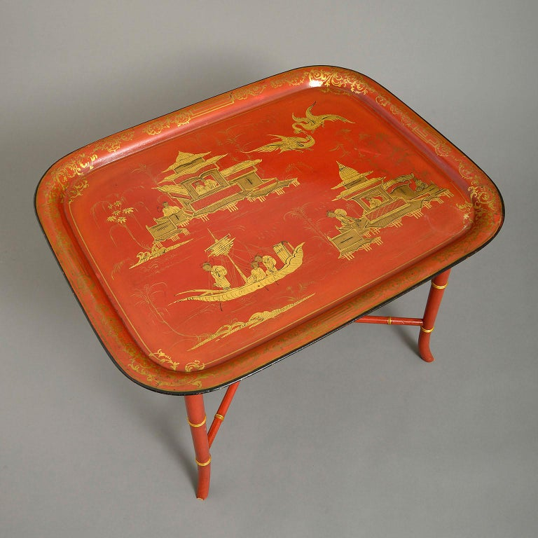 Chinoiserie Early 19th Century Regency Japanned Tôle Tray forming a Coffee Table For Sale