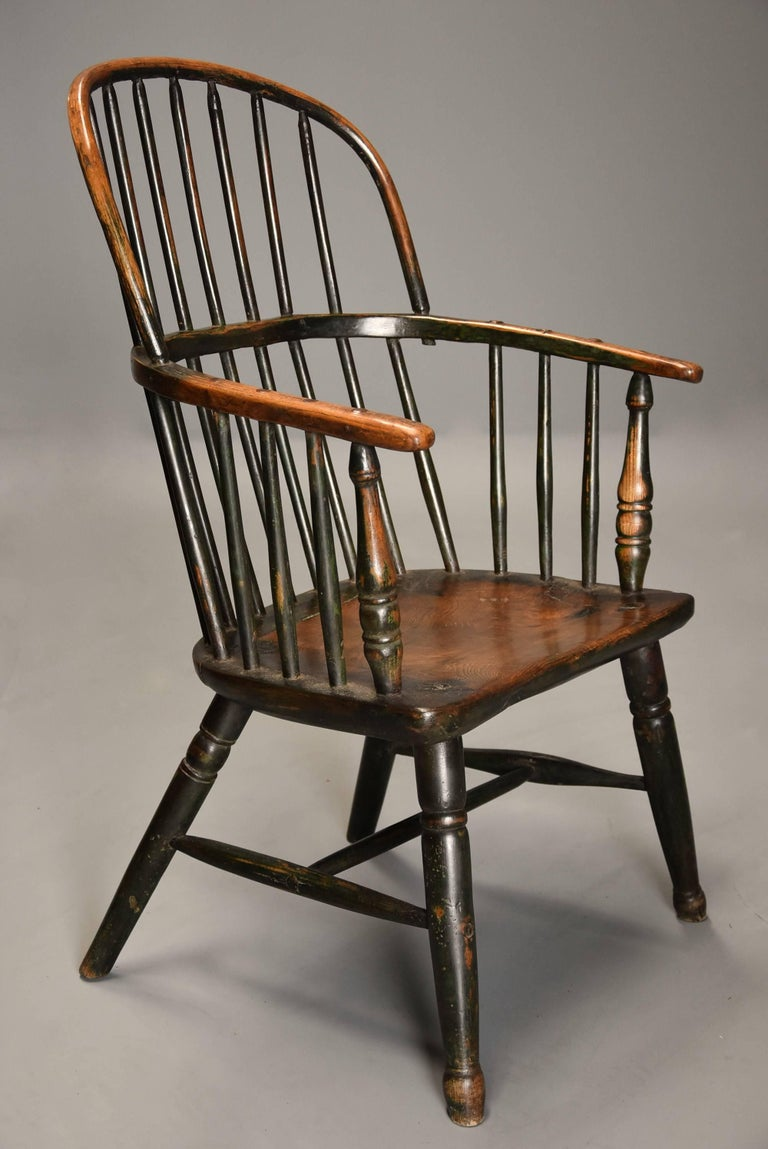 English Early 19th Century West Country Ash Hoop Back Windsor Chair For Sale
