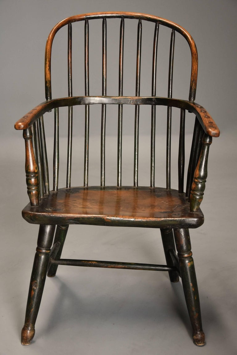 Early 19th Century West Country Ash Hoop Back Windsor Chair In Good Condition For Sale In Suffolk, GB