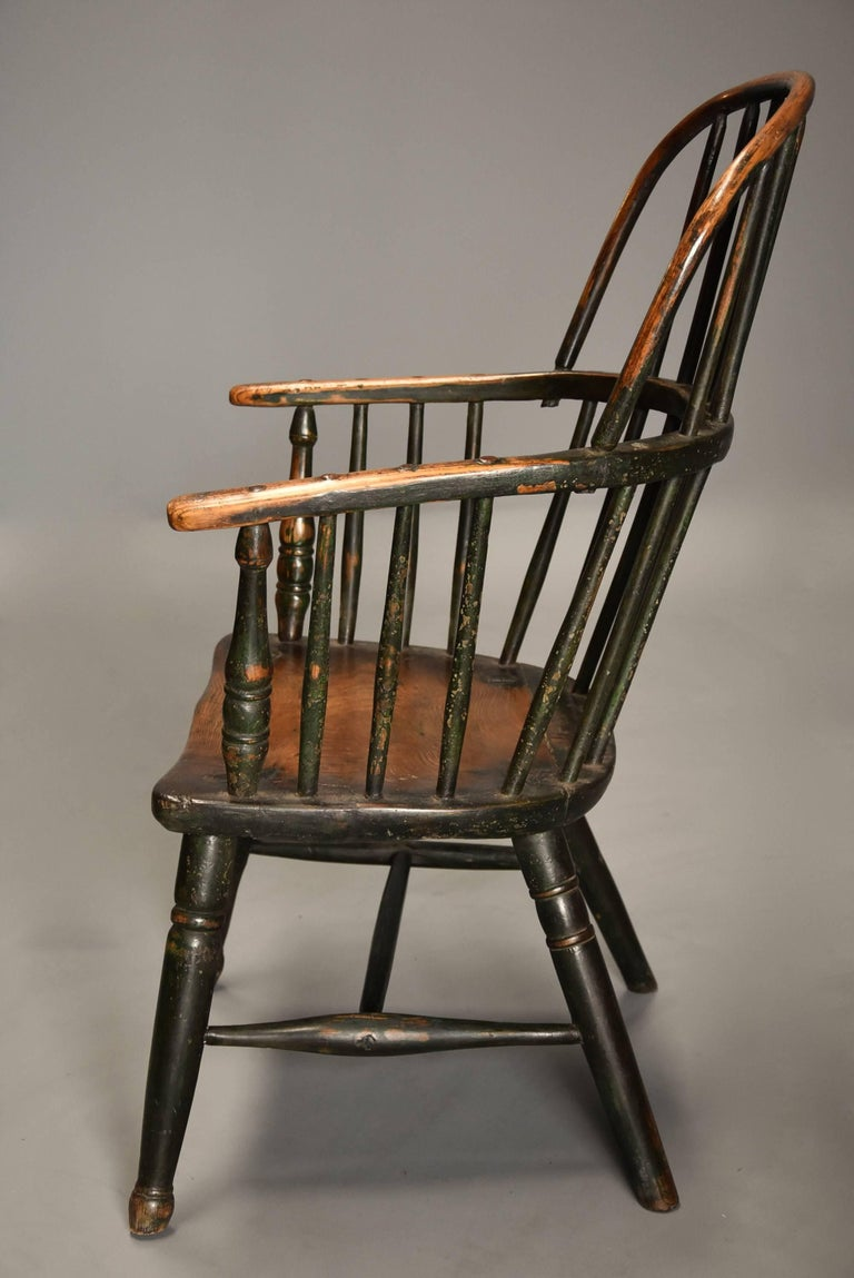 Early 19th Century West Country Ash Hoop Back Windsor Chair For Sale 2