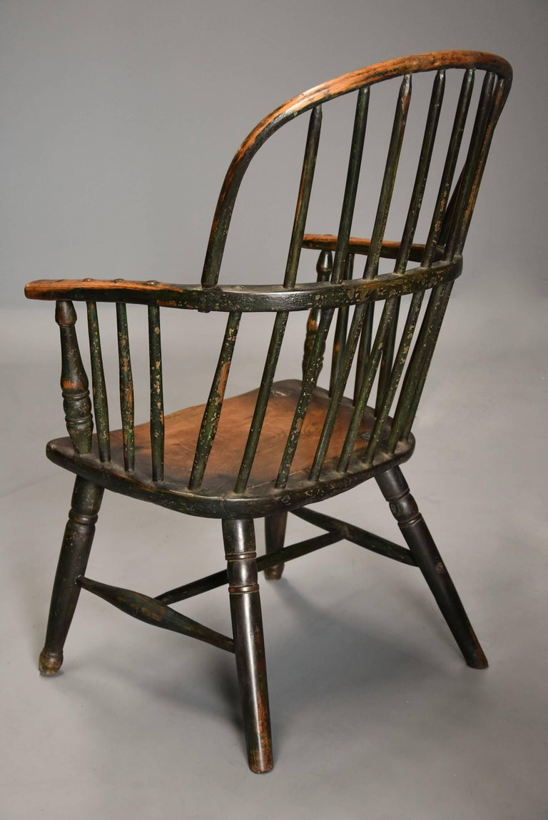 Early 19th Century West Country Ash Hoop Back Windsor Chair For Sale 5