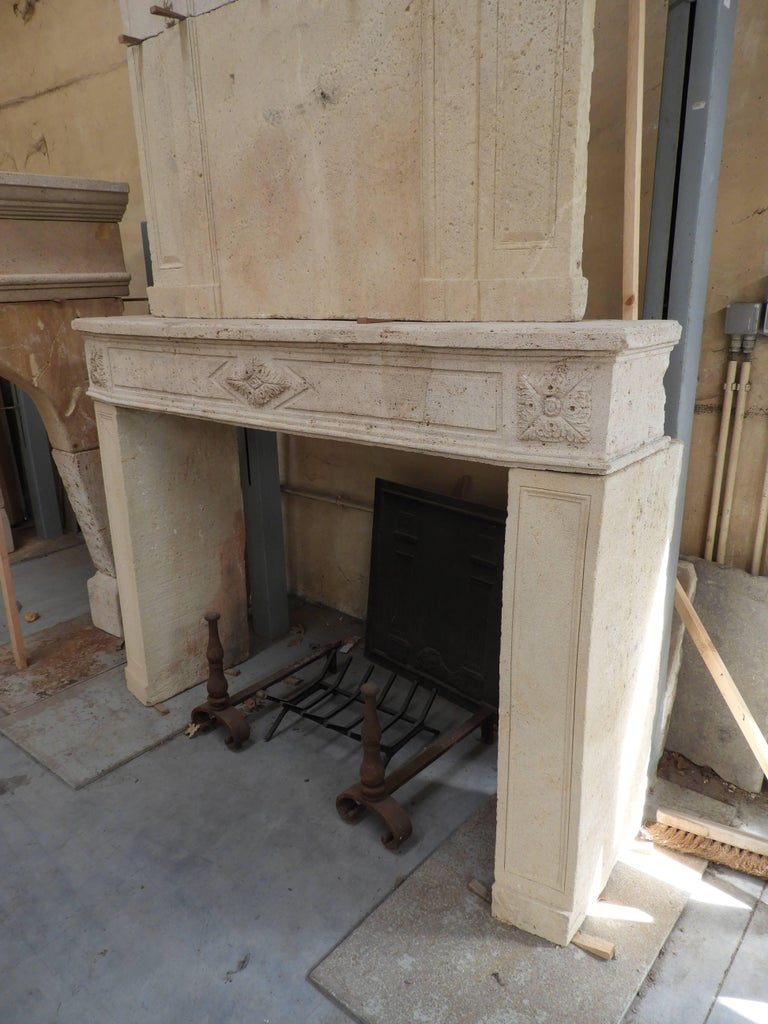 Early 19the Century Louis XVI Fireplace in French Limestone For Sale 6