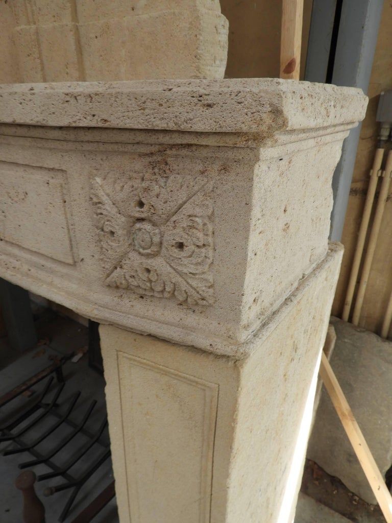 Early 19the Century Louis XVI Fireplace in French Limestone For Sale 11