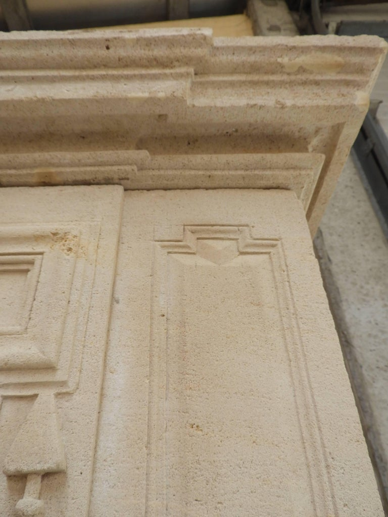 Hand-Carved Early 19the Century Louis XVI Fireplace in French Limestone For Sale