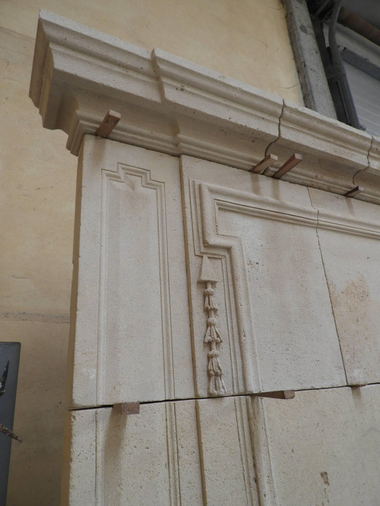 19th Century Early 19the Century Louis XVI Fireplace in French Limestone For Sale