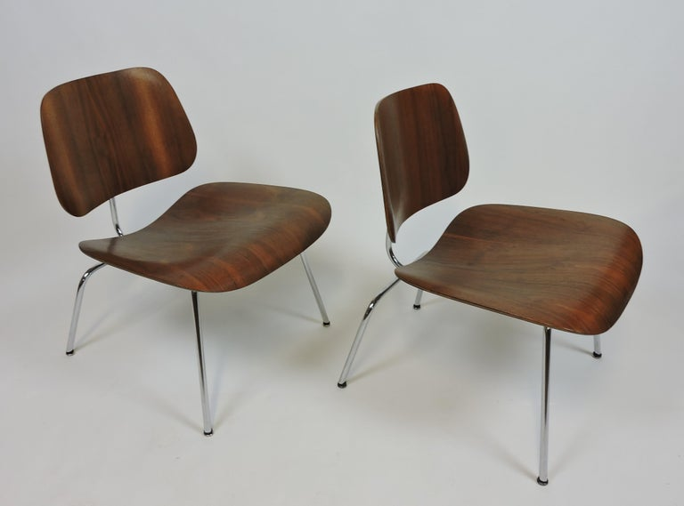 Steel Early First Edition Eames Walnut LCM Chair for Evans For Sale