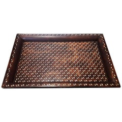 Early 20 Century Bone-Inlaid Teak Tray from India