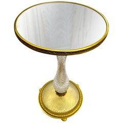 Early 20 Century Cut Crystal and Gilt Bronze Lamp Table Attributed to Baccarat