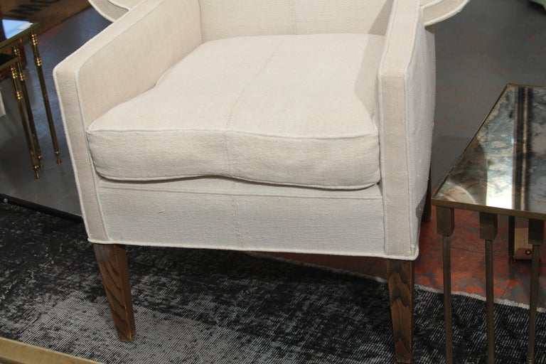 Fabric Early 20th Century Porters Chair in Antique Homespun Linen For Sale