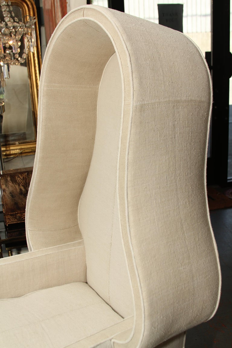 Early 20th Century Porters Chair in Antique Homespun Linen For Sale 3