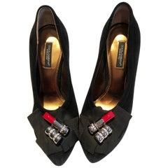 Early 2000s Dolce & Gabbana novelty platform heels lipstick pumps