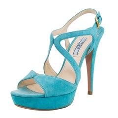 Early 2000s Prada Blue Suede Heels