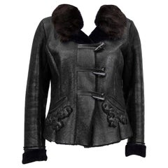 Early 2000's Prada Fitted and Cropped Black Shearling Jacket
