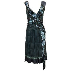 Early 2000s Prada Olive/Grey Sequin & Ruched Pleated Cocktail Dress