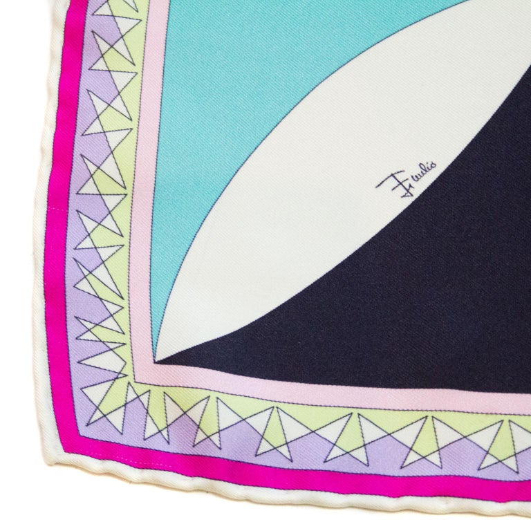 Early 2000s Pucci Pink, Purple and Chartreuse Printed Silk Mini Scarf 3