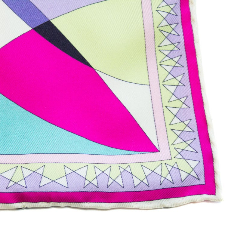 Early 2000s Pucci Pink, Purple and Chartreuse Printed Silk Mini Scarf 4