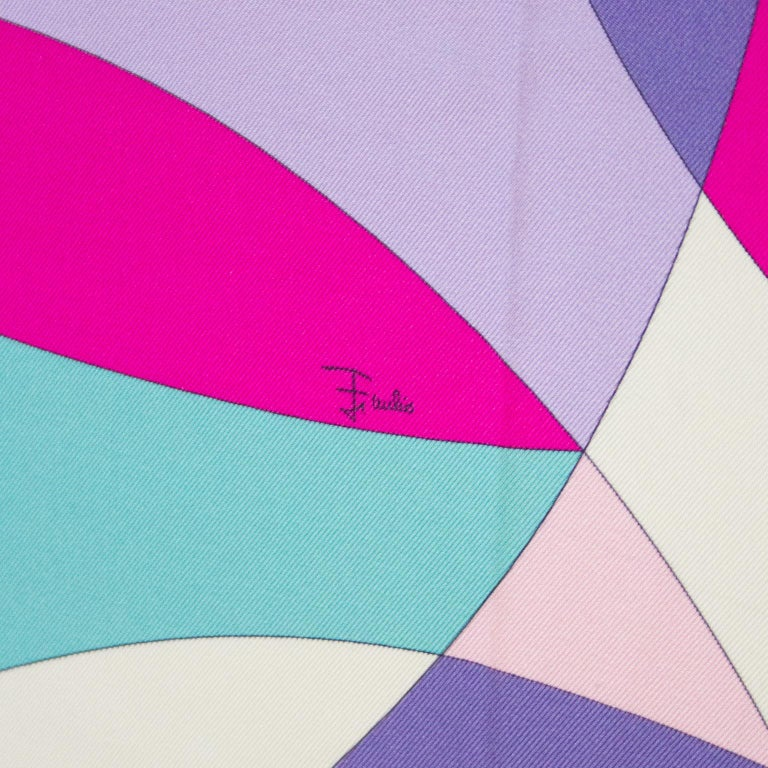 Early 2000s Pucci Pink, Purple and Chartreuse Printed Silk Mini Scarf 5