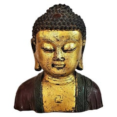 Early 20th Century Cambodian Gilt and Painted Iron Buddha Bust