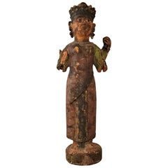 Early 20th Century Cambodian Polychrome Female Figurine