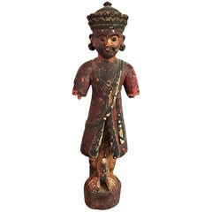 Early 20th Century Cambodian Polychrome Male Figurine