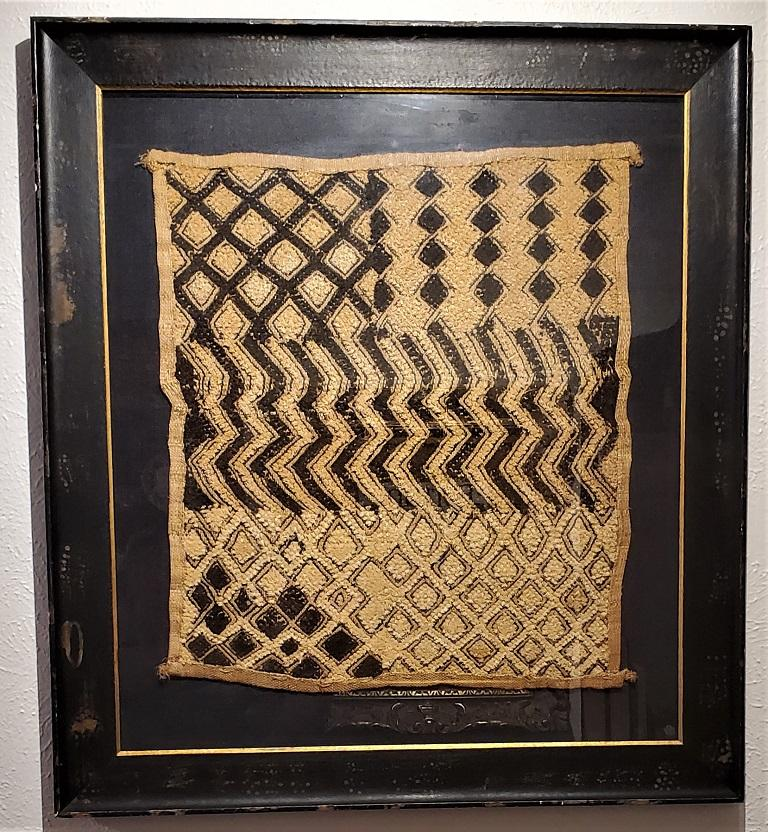 Tribal Early 20th Century Congolese Kuba Framed Textile For Sale