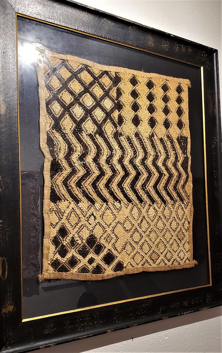 Hand-Woven Early 20th Century Congolese Kuba Framed Textile For Sale