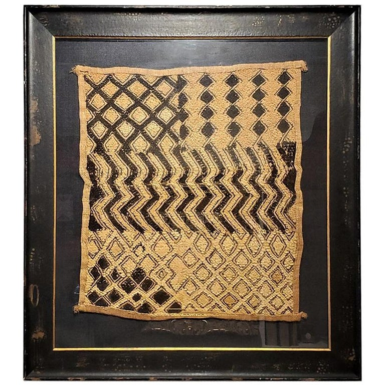 Early 20th Century Congolese Kuba Framed Textile For Sale